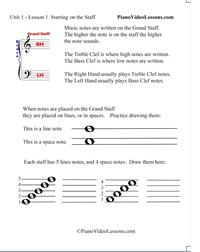 Grand Staff Piano Lesson 1