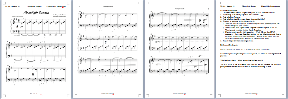 Moonlight Sonata pdf - Free Beginner Video Piano Lesson